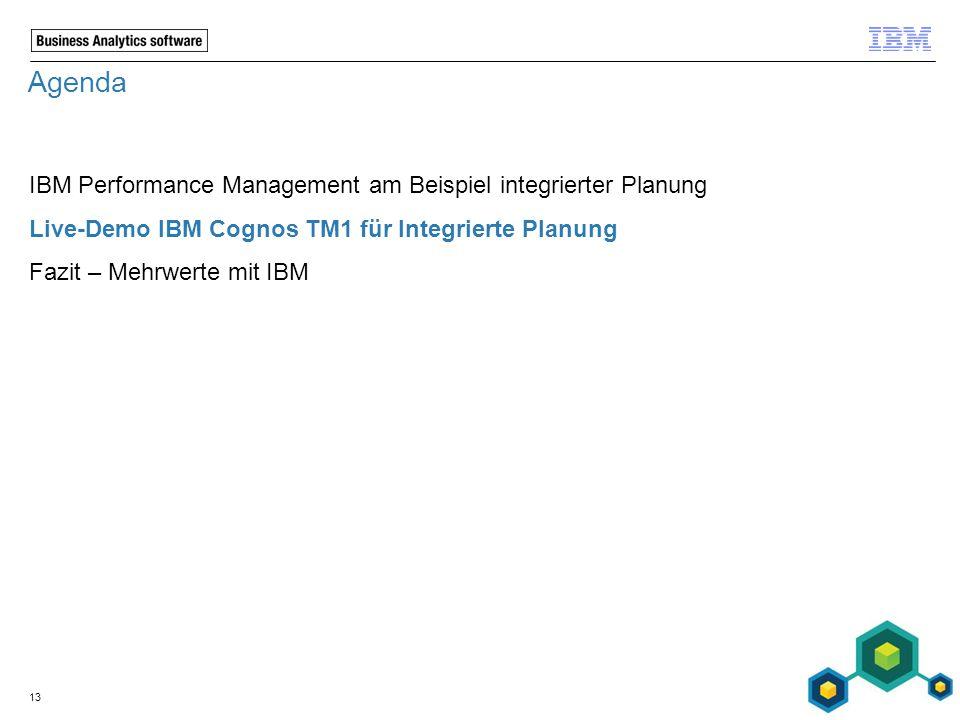 Agenda IBM Performance Management am Beispiel integrierter Planung Live-Demo IBM Cognos TM1 für Integrierte Planung Fazit – Mehrwerte mit IBM 13