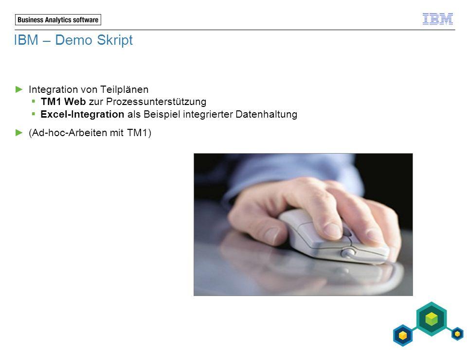 IBM – Demo Skript ►Integration von Teilplänen  TM1 Web zur Prozessunterstützung  Excel-Integration als Beispiel integrierter Datenhaltung ►(Ad-hoc-A