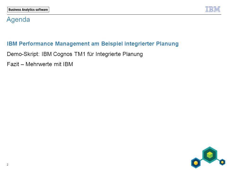 Agenda IBM Performance Management am Beispiel integrierter Planung Demo-Skript: IBM Cognos TM1 für Integrierte Planung Fazit – Mehrwerte mit IBM 2