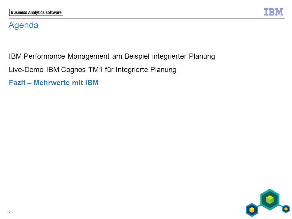 Agenda IBM Performance Management am Beispiel integrierter Planung Live-Demo IBM Cognos TM1 für Integrierte Planung Fazit – Mehrwerte mit IBM 23