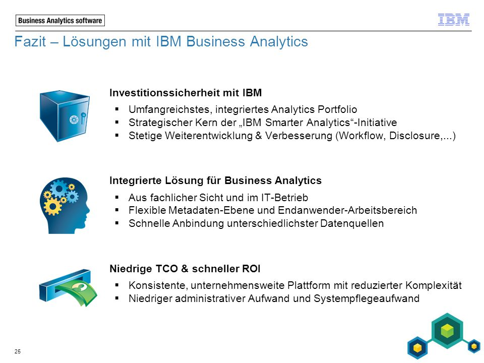 Fazit – Lösungen mit IBM Business Analytics Investitionssicherheit mit IBM  Umfangreichstes, integriertes Analytics Portfolio  Strategischer Kern de