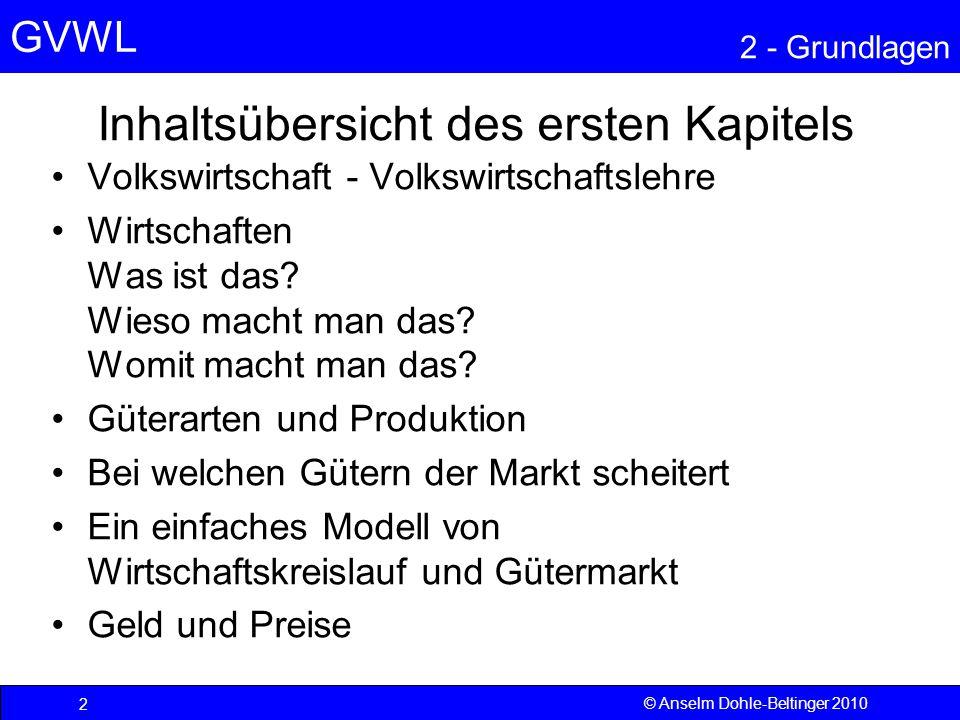 GVWL 2 - Grundlagen 1 – VOLKSWIRTSCHAFT UND VWL © Anselm Dohle- Beltinger 2010 3