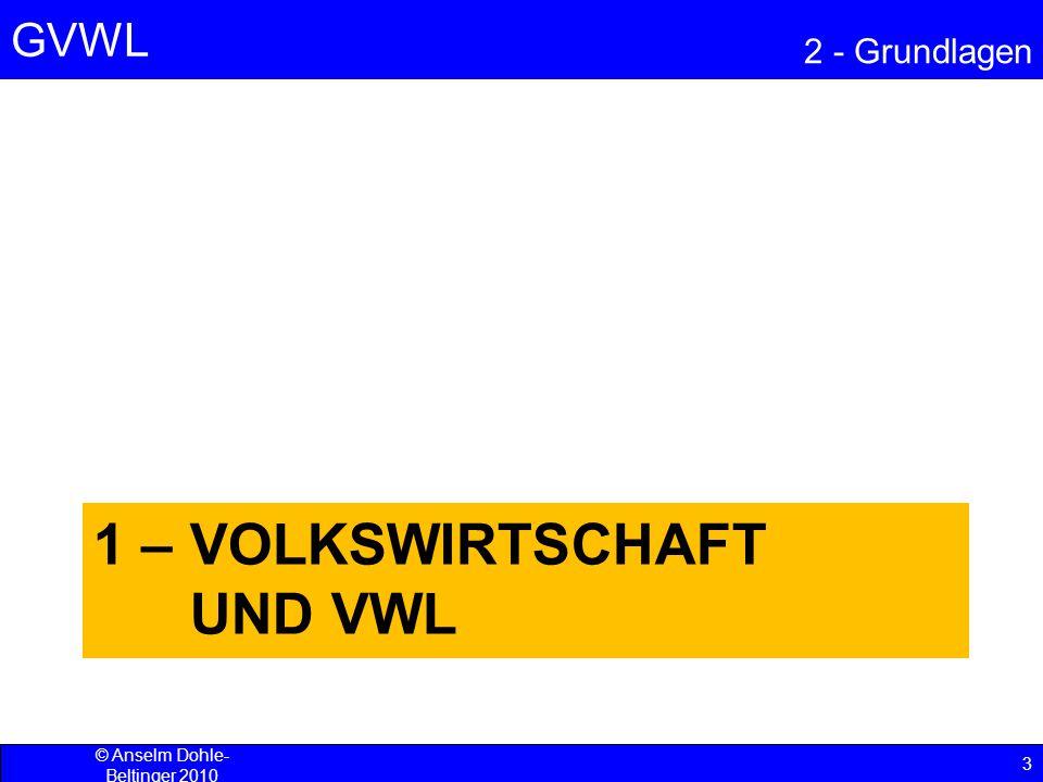 GVWL 2 - Grundlagen 4 © Anselm Dohle-Beltinger 2010 Die Volkswirtschaft und die Lehre davon Die Volkswirtschaftslehre (VWL) als Teil der Sozialwissenschaften betrachtet wirtschaftliche Vorgänge und Zusammenhänge.