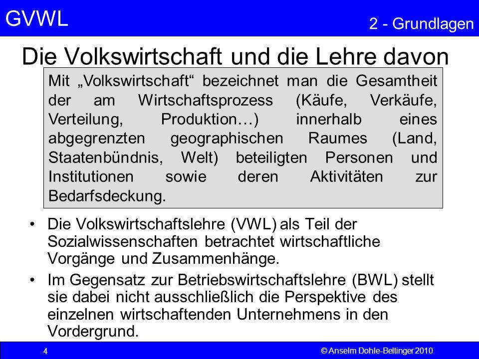 GVWL 2 - Grundlagen 5.3 Rolle der Preisstabilität Starke Verwerfungen bei Austauschrelationen zwischen Gütern (relative Preise) –durch Inflation (selten einheitlich für alle Güter) –durch Knappheit oder Mode erschweren Marktgleichgewicht –hohe Informationskosten –ungleiche Erwartungsbildung  ungleiche Preise auf Angebots- und Nachfrageseite  kein stabiles Gleichgewicht  Wohlfahrtseinbußen  Inflationsbekämpfung zur Aufrechterhaltung der Steuerungsfunktion der Preise © Anselm Dohle-Beltinger 201065