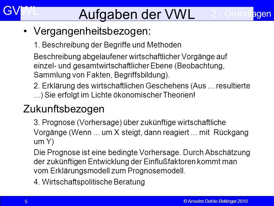 GVWL 2 - Grundlagen 6 © Anselm Dohle-Beltinger 2010 Aufgaben der VWL (2) Erklärung von Triebkräften, Funktion und Wirkungen des Wirtschaftsprozesses –Prozessschritte Ressourcenentnahme Verarbeitung (Transformation und Technologie) Allokation Distribution