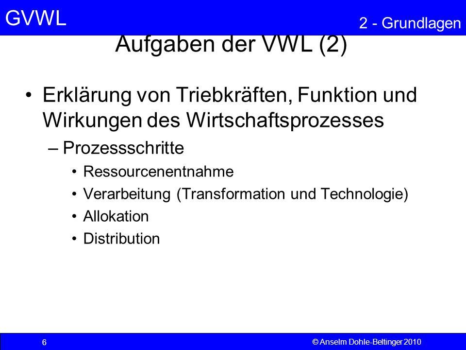 GVWL 2 - Grundlagen 57 © Anselm Dohle-Beltinger 2010 Meritorische Güter Das sind Güter, bei denen ein Ausschluss problemlos vorgenommen werden kann, so genannte private Güter, aber der Ausschluss – zumindest teilweise – unerwünscht ist.