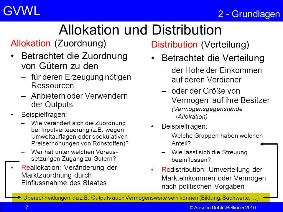 GVWL 2 - Grundlagen 28 © Anselm Dohle-Beltinger 2010 Konsumgüter Konsumgüter sind solche Güter, die unmittelbar für den Haushalt (öffentlich oder privat) bestimmt sind.