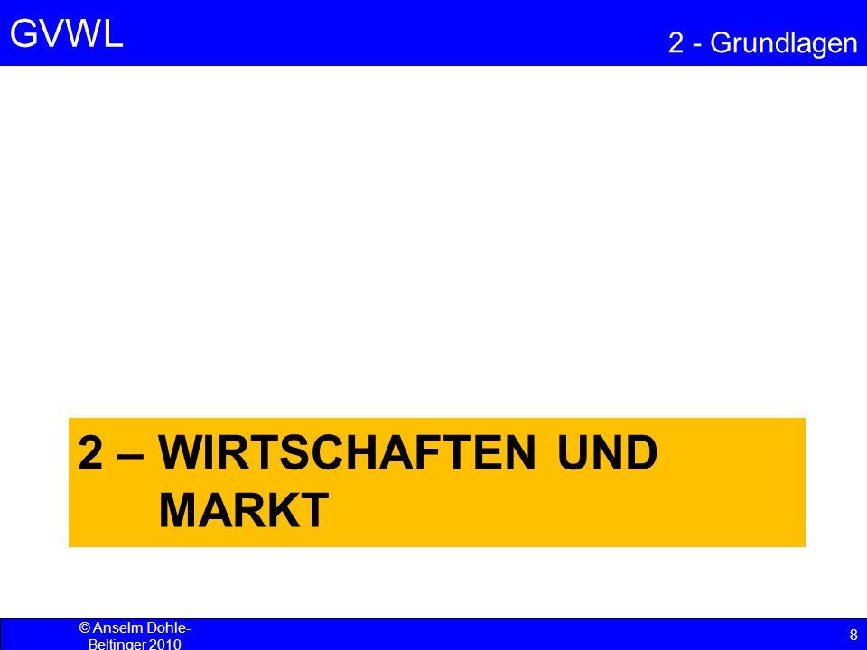 GVWL 2 - Grundlagen 29 © Anselm Dohle-Beltinger 2010 Produktionsfaktoren Zu ihnen zählen –Arbeitsleistung und Humankapital Wissen und Fertigkeiten des Arbeitenden bzw.