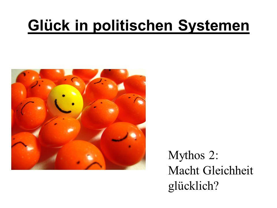 Glück in politischen Systemen Mythos 2: Macht Gleichheit glücklich?