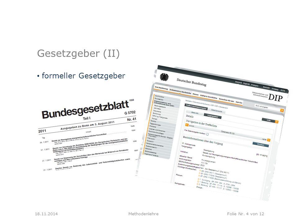 MethodenlehreFolie Nr. 4 von 12 Gesetzgeber (II) formeller Gesetzgeber 18.11.2014