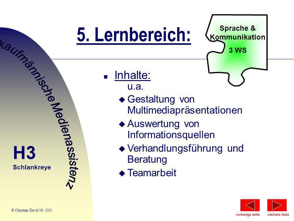 5. Lernbereich: Sprache & Kommunikation 3 WS n Inhalte: u.a. u Gestaltung von Multimediapräsentationen u Auswertung von Informationsquellen u Verhandl