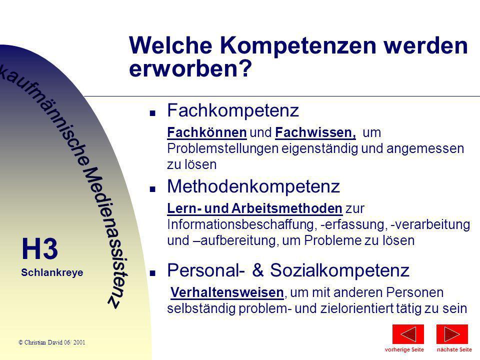 Welche Kompetenzen werden erworben? n Fachkompetenz Fachkönnen und Fachwissen, um Problemstellungen eigenständig und angemessen zu lösen n Methodenkom