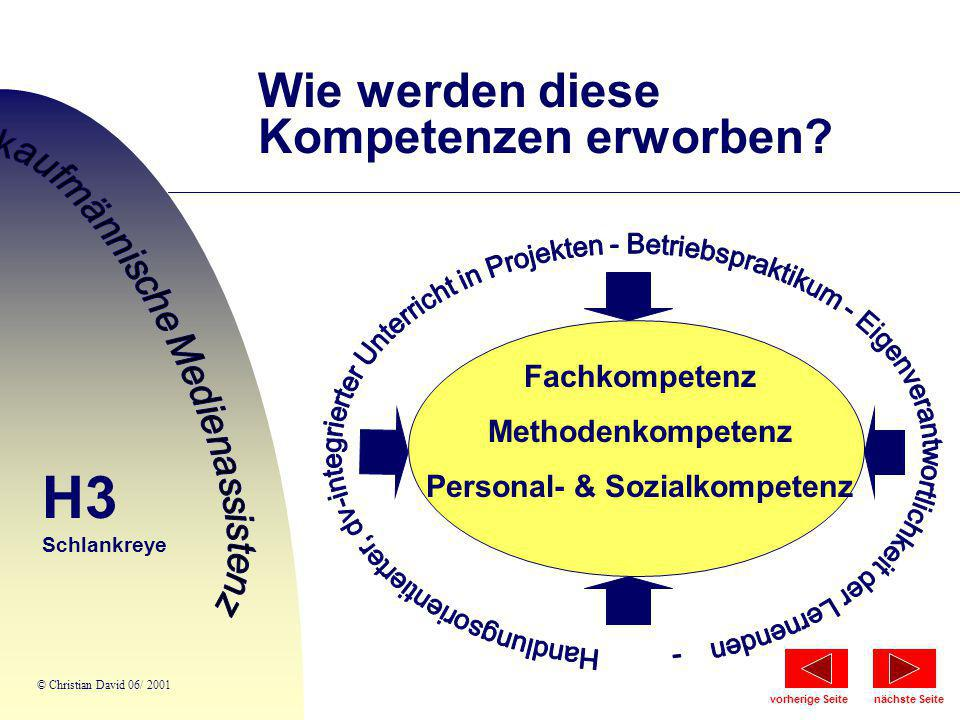 Wie werden diese Kompetenzen erworben? Fachkompetenz Methodenkompetenz Personal- & Sozialkompetenz c c c H3 Schlankreye © Christian David 06/ 2001 näc