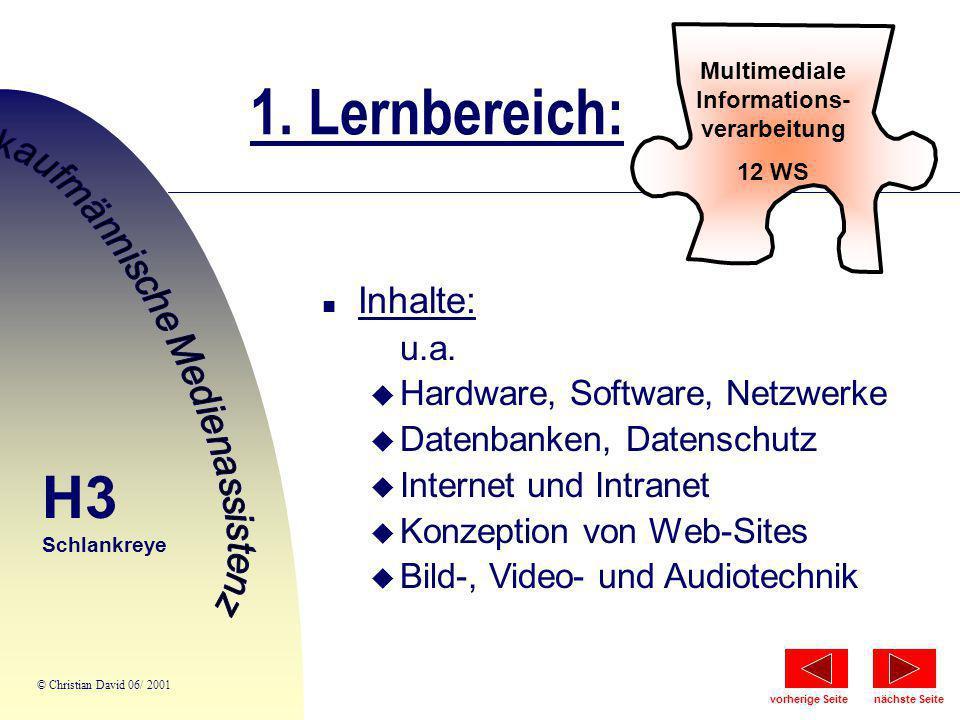 1. Lernbereich: Multimediale Informations- verarbeitung 12 WS n Inhalte: u.a. u Hardware, Software, Netzwerke u Datenbanken, Datenschutz u Internet un