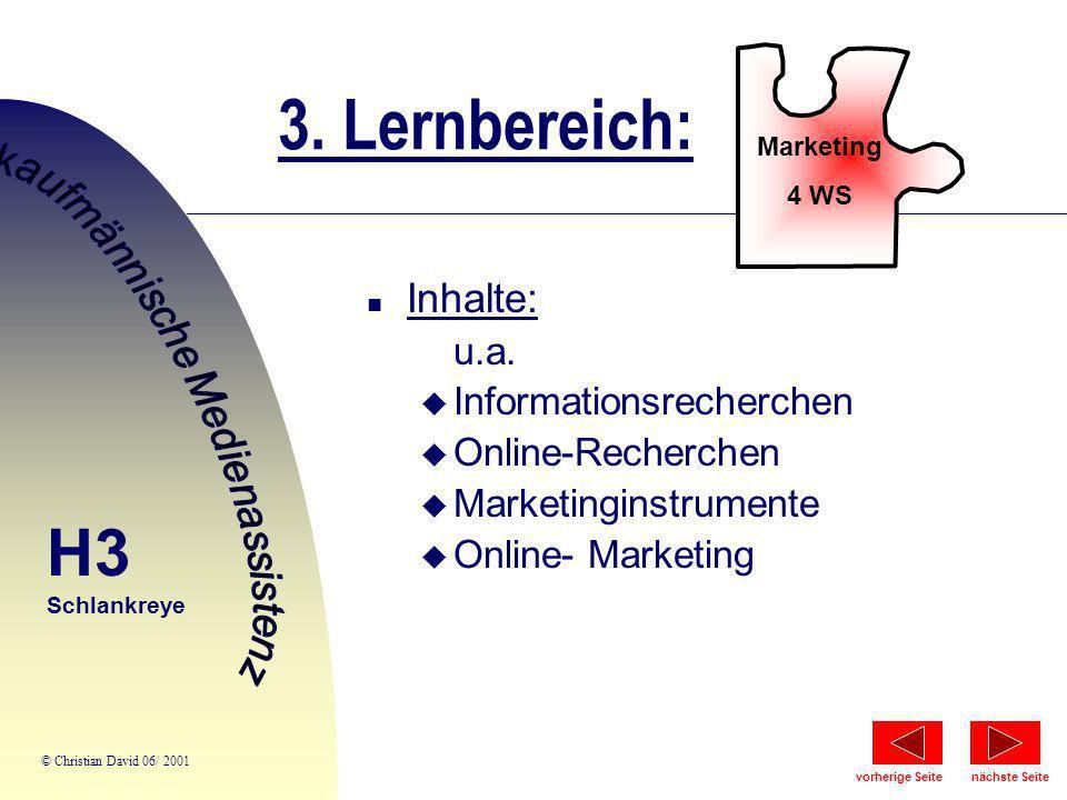 3. Lernbereich: Marketing 4 WS n Inhalte: u.a. u Informationsrecherchen u Online-Recherchen u Marketinginstrumente u Online- Marketing H3 Schlankreye
