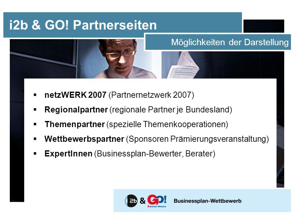  netzWERK 2007 (Partnernetzwerk 2007)  Regionalpartner (regionale Partner je Bundesland)  Themenpartner (spezielle Themenkooperationen)  Wettbewerbspartner (Sponsoren Prämierungsveranstaltung)  ExpertInnen (Businessplan-Bewerter, Berater) i2b & GO.