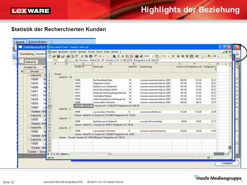 Lexware Händlerkongress 2006 Erstellt von: Christoph Müller Seite: 22 Highlights der Beziehung Statistik der Recherchierten Kunden