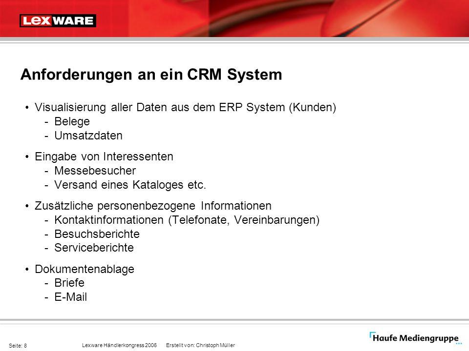 Lexware Händlerkongress 2006 Erstellt von: Christoph Müller Seite: 8 Anforderungen an ein CRM System Visualisierung aller Daten aus dem ERP System (Ku