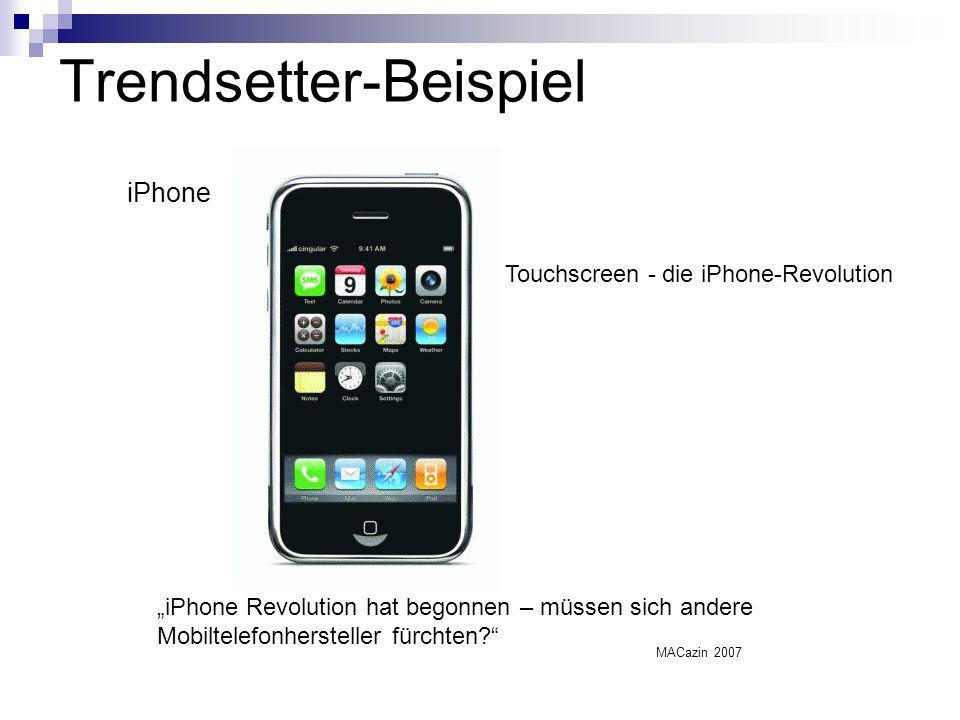 """Trendsetter-Beispiel """"iPhone Revolution hat begonnen – müssen sich andere Mobiltelefonhersteller fürchten?"""" iPhone Touchscreen - die iPhone-Revolution"""