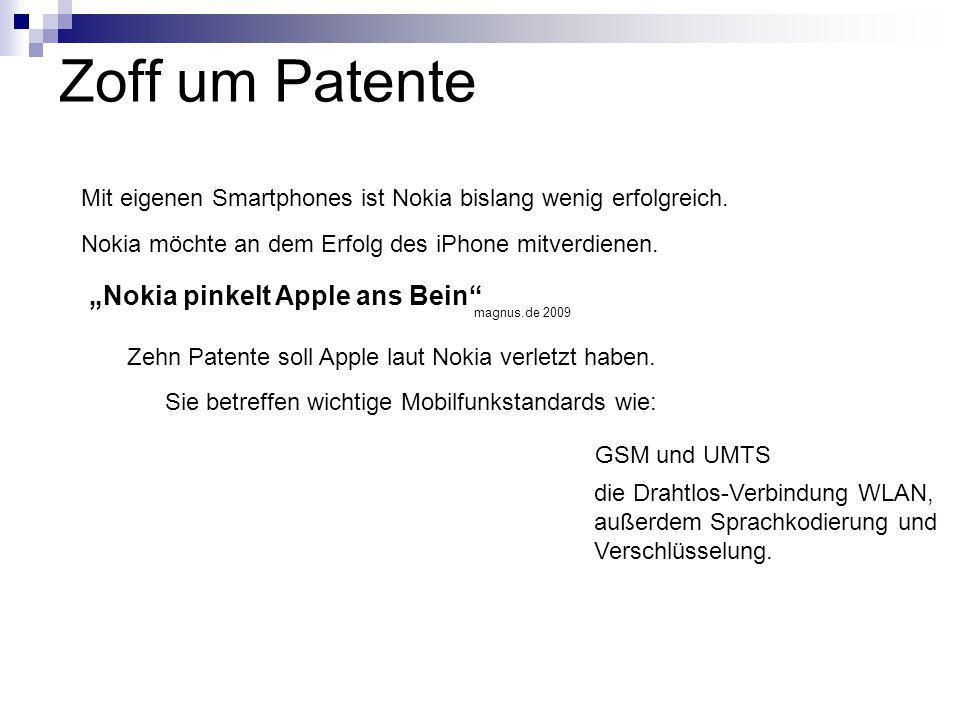 Zoff um Patente Zehn Patente soll Apple laut Nokia verletzt haben. Sie betreffen wichtige Mobilfunkstandards wie: GSM und UMTS die Drahtlos-Verbindung