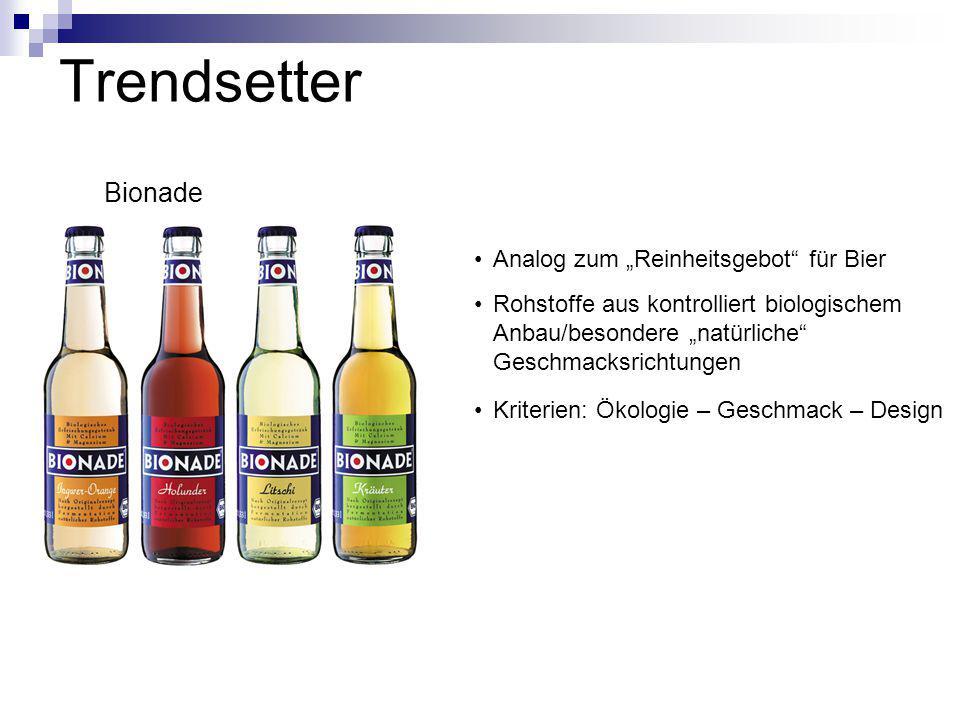 """Trendsetter Bionade Analog zum """"Reinheitsgebot"""" für Bier Rohstoffe aus kontrolliert biologischem Anbau/besondere """"natürliche"""" Geschmacksrichtungen Kri"""