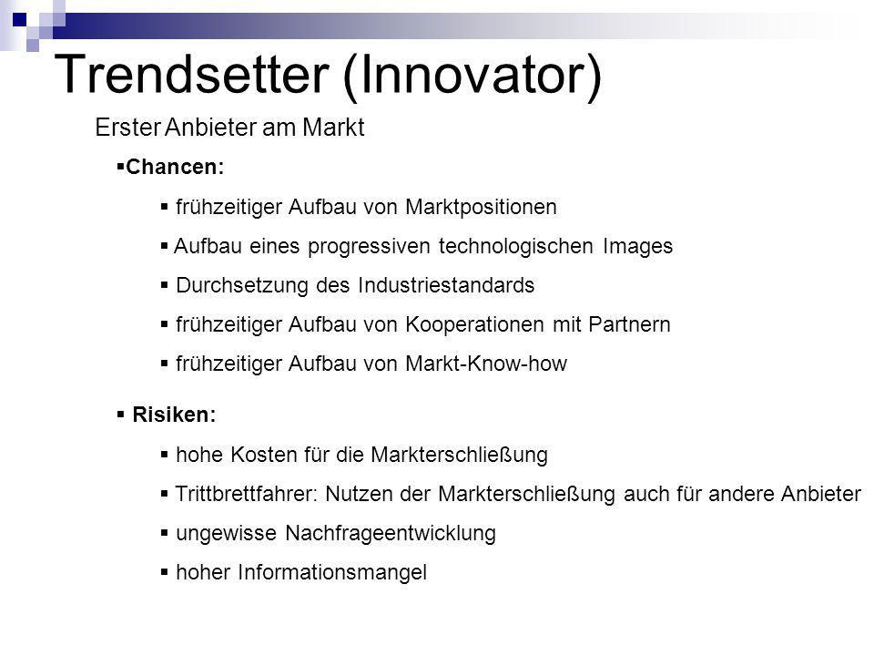 Trendsetter (Innovator) Erster Anbieter am Markt  Chancen:  frühzeitiger Aufbau von Marktpositionen  Aufbau eines progressiven technologischen Imag