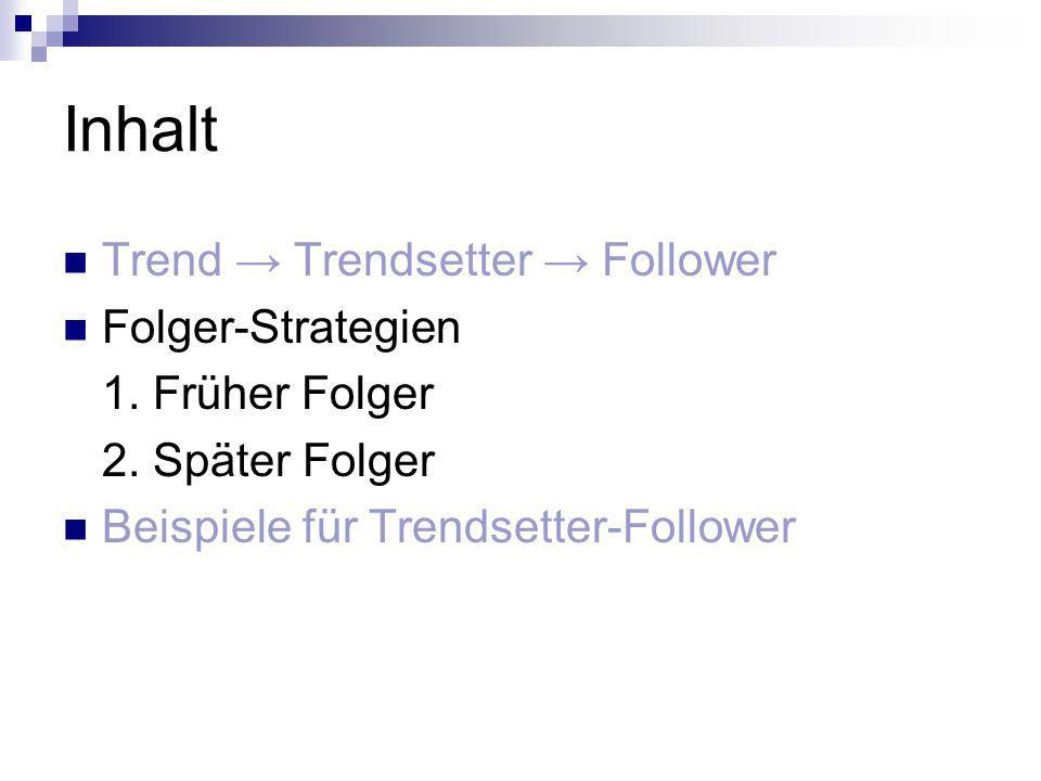 Inhalt Trend → Trendsetter → Follower Folger-Strategien 1. Früher Folger 2. Später Folger Beispiele für Trendsetter-Follower