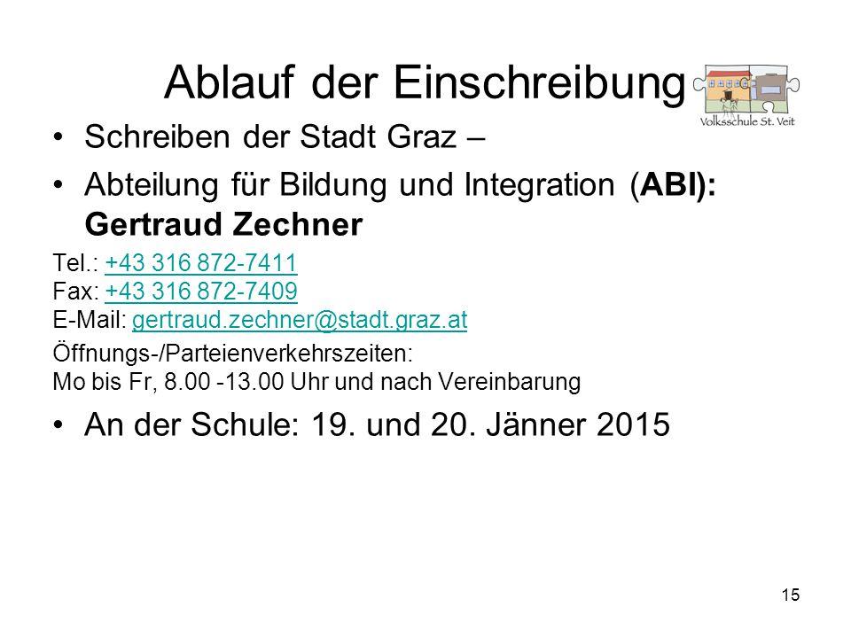 15 Ablauf der Einschreibung Schreiben der Stadt Graz – Abteilung für Bildung und Integration (ABI): Gertraud Zechner Tel.: +43 316 872-7411 Fax: +43 3