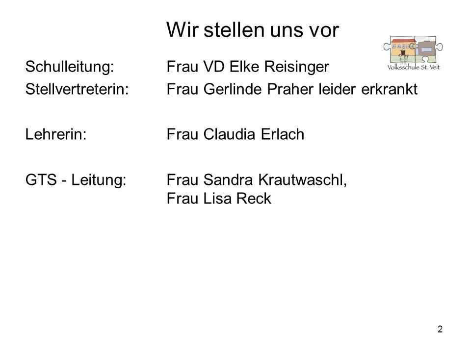 2 Wir stellen uns vor Schulleitung:Frau VD Elke Reisinger Stellvertreterin:Frau Gerlinde Praher leider erkrankt Lehrerin: Frau Claudia Erlach GTS - Le