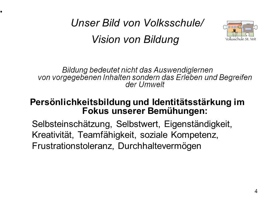 4 Unser Bild von Volksschule/ Vision von Bildung Bildung bedeutet nicht das Auswendiglernen von vorgegebenen Inhalten sondern das Erleben und Begreife