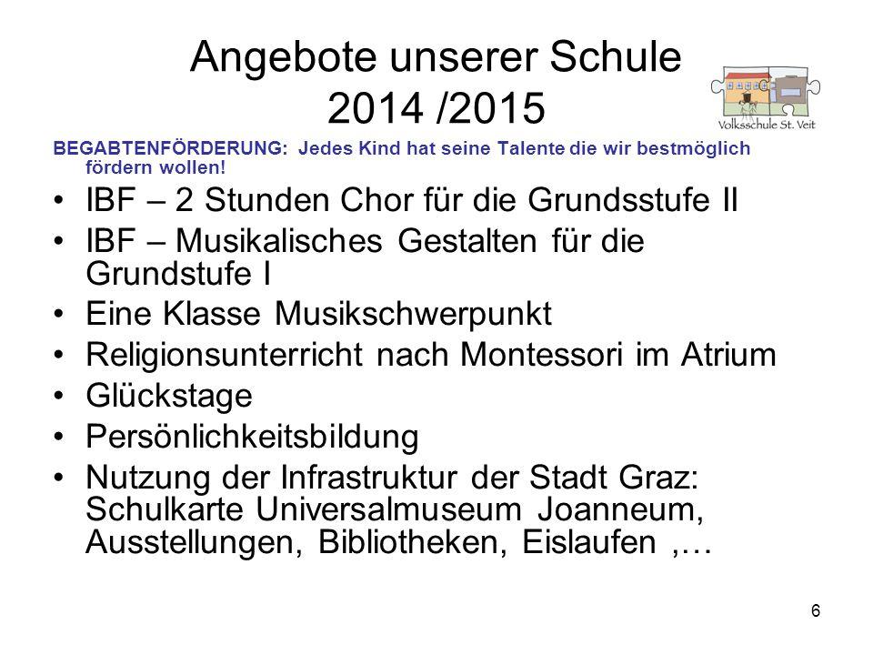 6 Angebote unserer Schule 2014 /2015 BEGABTENFÖRDERUNG: Jedes Kind hat seine Talente die wir bestmöglich fördern wollen! IBF – 2 Stunden Chor für die