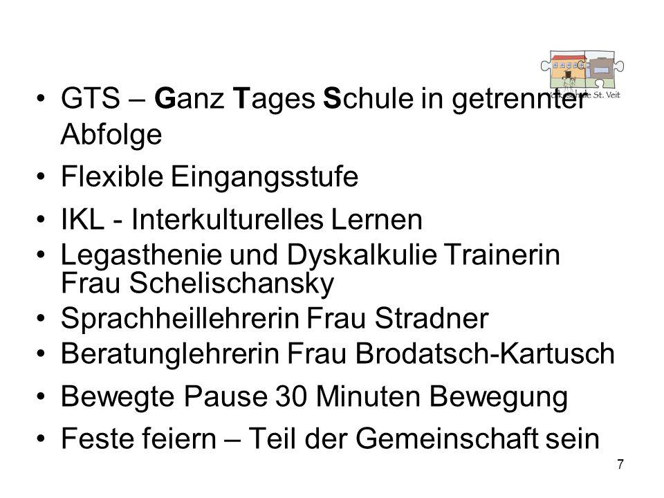 7 GTS – Ganz Tages Schule in getrennter Abfolge Flexible Eingangsstufe IKL - Interkulturelles Lernen Legasthenie und Dyskalkulie Trainerin Frau Scheli