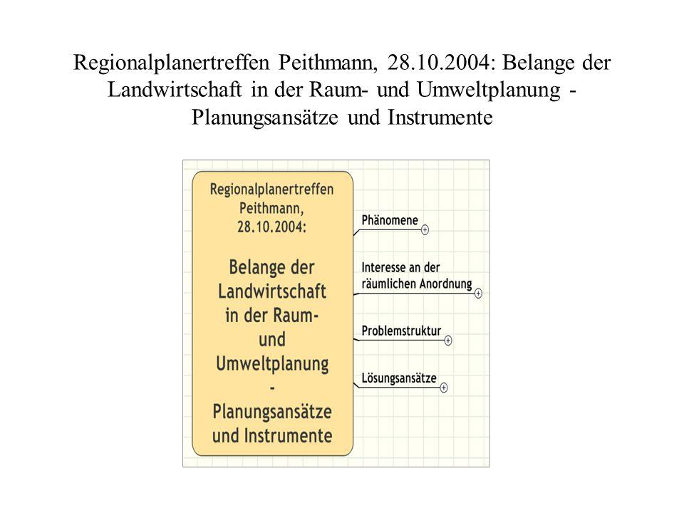 Regionalplanertreffen Peithmann, 28.10.2004: Belange der Landwirtschaft in der Raum- und Umweltplanung - Planungsansätze und Instrumente