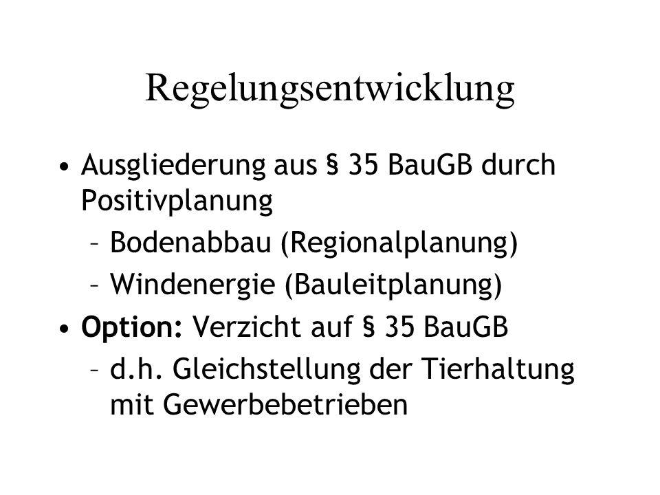 Regelungsentwicklung Ausgliederung aus § 35 BauGB durch Positivplanung –Bodenabbau (Regionalplanung) –Windenergie (Bauleitplanung) Option: Verzicht auf § 35 BauGB –d.h.