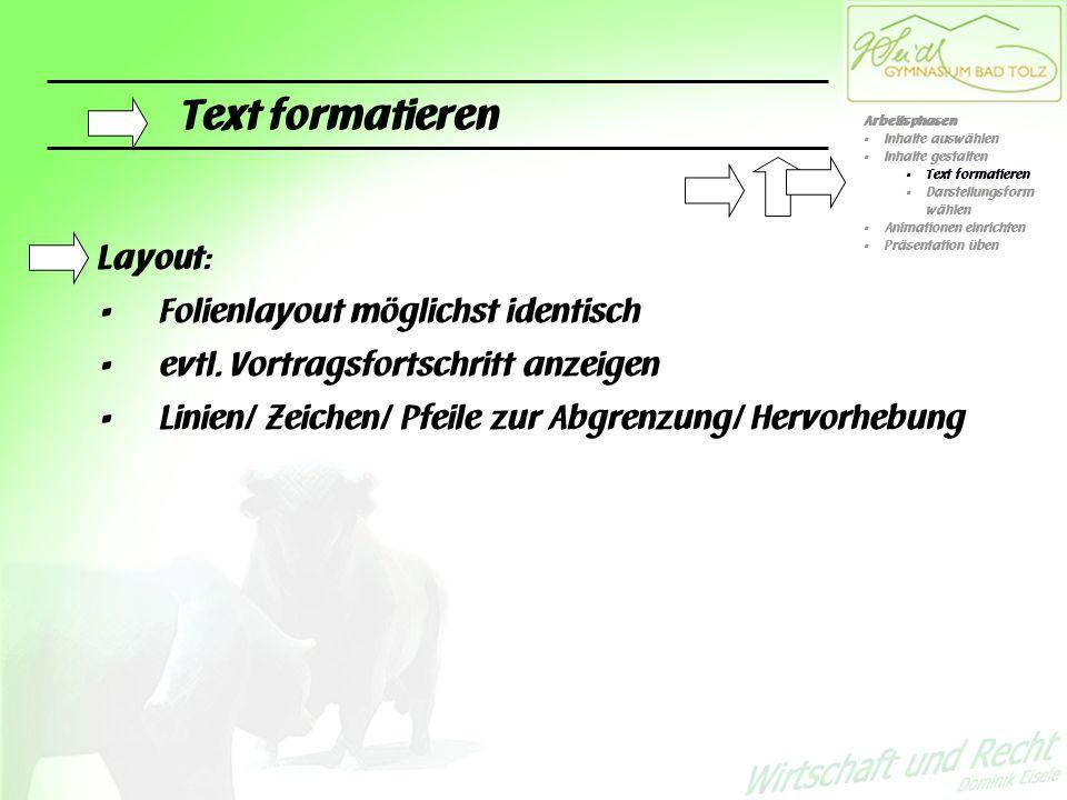 Inhalte gestalten Darstellungsformen: - Organigramme - Diagramme - Geometrische Figuren mit Übersichtsbegriffen - … - … - … - … - Tabellen - Text Arbeitsphasen Inhalte auswählen Inhalte gestalten Text formatieren Darstellungsform wählen Animationen einrichten Präsentation üben gut (schlecht)