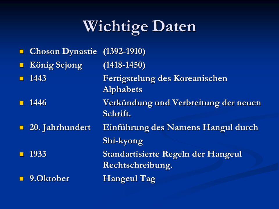 Wichtige Daten Choson Dynastie (1392-1910) Choson Dynastie (1392-1910) König Sejong (1418-1450) König Sejong (1418-1450) 1443 Fertigstelung des Koreanischen Alphabets 1443 Fertigstelung des Koreanischen Alphabets 1446 Verkündung und Verbreitung der neuen Schrift.