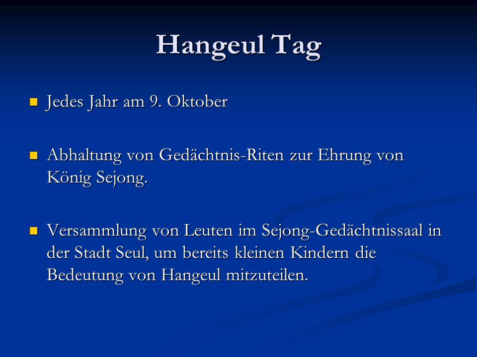 Hangeul Tag Jedes Jahr am 9.Oktober Jedes Jahr am 9.