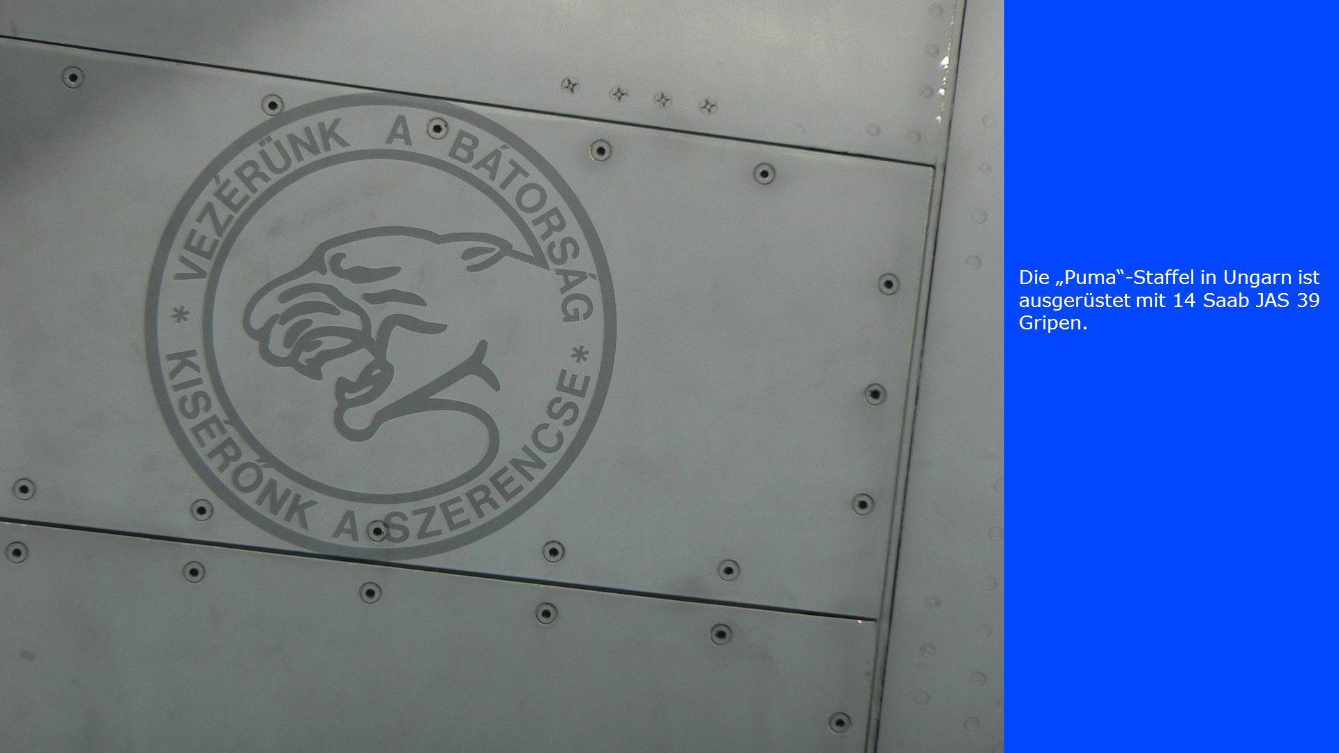 """Die """"Puma -Staffel in Ungarn ist ausgerüstet mit 14 Saab JAS 39 Gripen."""