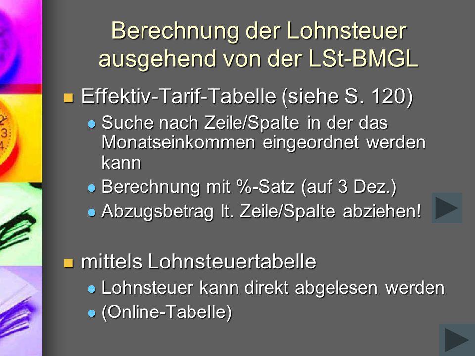 Berechnung der Lohnsteuer ausgehend von der LSt-BMGL Effektiv-Tarif-Tabelle (siehe S. 120) Effektiv-Tarif-Tabelle (siehe S. 120) Suche nach Zeile/Spal