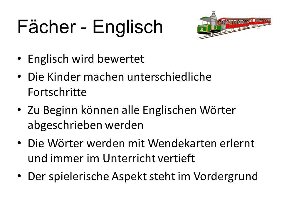 Fächer - Englisch Englisch wird bewertet Die Kinder machen unterschiedliche Fortschritte Zu Beginn können alle Englischen Wörter abgeschrieben werden Die Wörter werden mit Wendekarten erlernt und immer im Unterricht vertieft Der spielerische Aspekt steht im Vordergrund