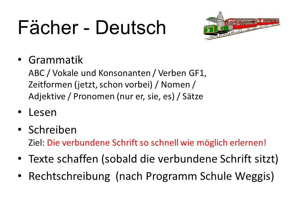 Fächer - Deutsch Grammatik ABC / Vokale und Konsonanten / Verben GF1, Zeitformen (jetzt, schon vorbei) / Nomen / Adjektive / Pronomen (nur er, sie, es