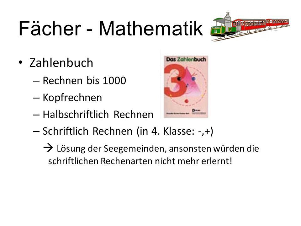 Fächer - Mathematik Zahlenbuch – Rechnen bis 1000 – Kopfrechnen – Halbschriftlich Rechnen – Schriftlich Rechnen (in 4. Klasse: -,+)  Lösung der Seege