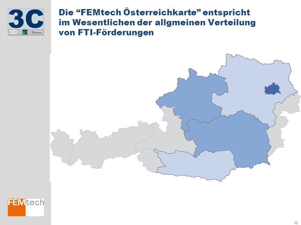 """10 Die """"FEMtech Österreichkarte"""" entspricht im Wesentlichen der allgmeinen Verteilung von FTI-Förderungen"""