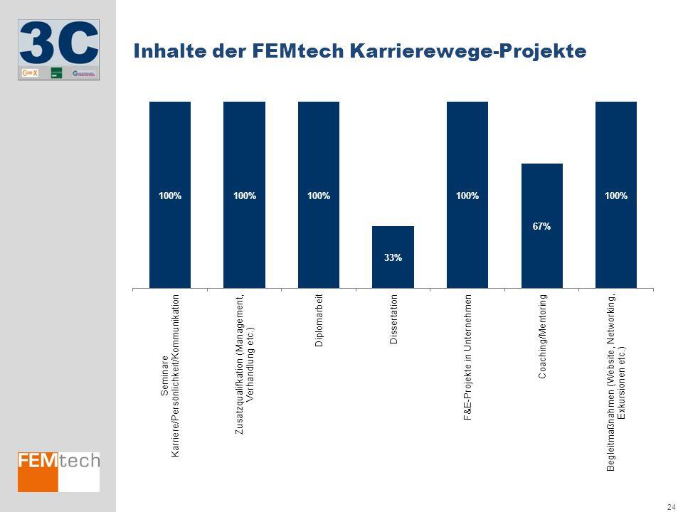 24 Inhalte der FEMtech Karrierewege-Projekte