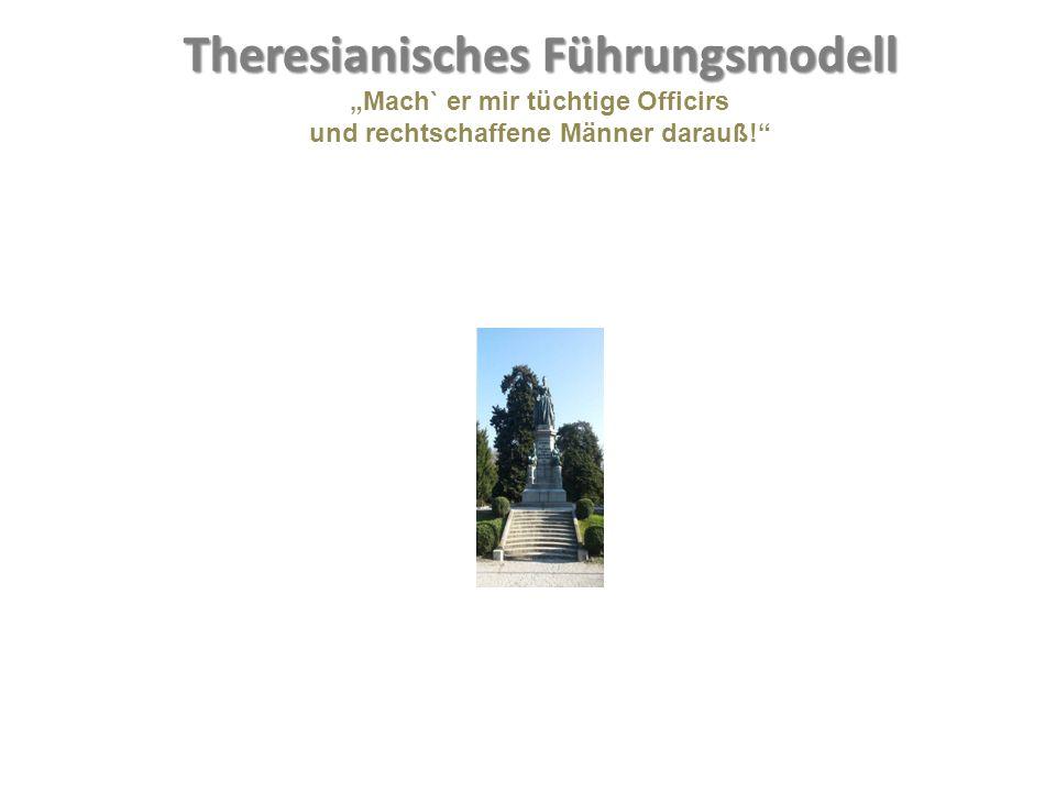 """FH- Bachelorstudien- gang Militärische Führung Theresianisches Führungsmodell """"Mach` er mir tüchtige Officirs und rechtschaffene Männer darauß!"""