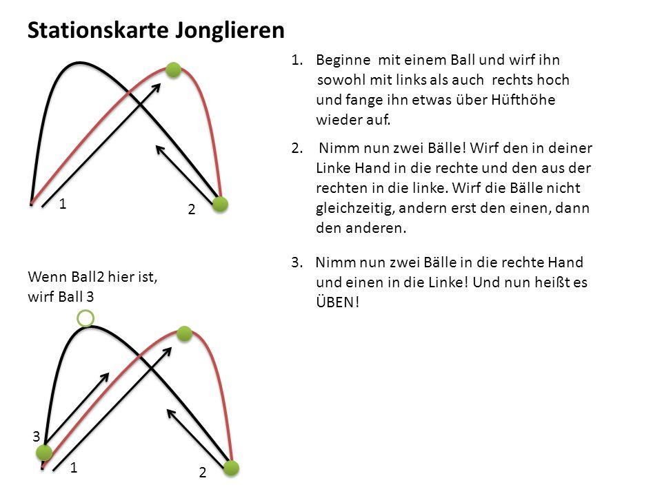 Stationskarte Jonglieren 1.Beginne mit einem Ball und wirf ihn sowohl mit links als auch rechts hoch und fange ihn etwas über Hüfthöhe wieder auf. 2.