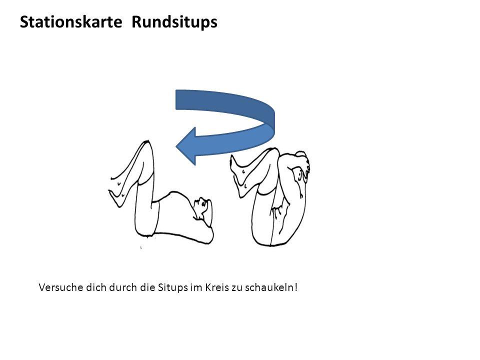 Stationskarte Rundsitups Versuche dich durch die Situps im Kreis zu schaukeln!