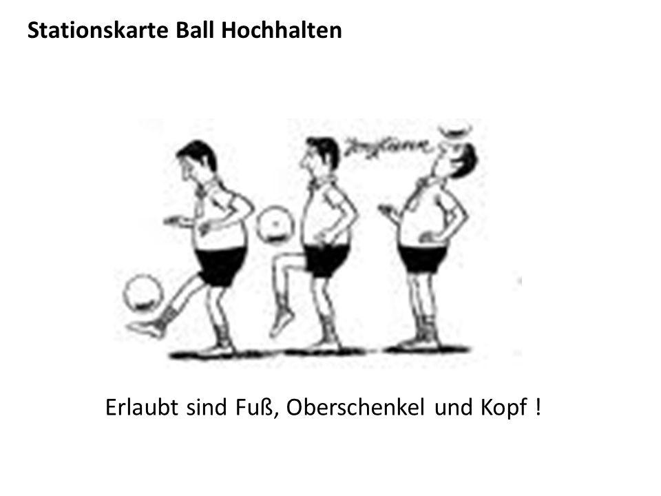 Stationskarte Ball Hochhalten Erlaubt sind Fuß, Oberschenkel und Kopf !
