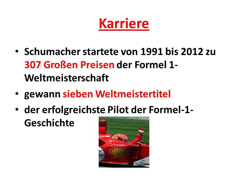 Karriere Schumacher startete von 1991 bis 2012 zu 307 Großen Preisen der Formel 1- Weltmeisterschaft gewann sieben Weltmeistertitel der erfolgreichste Pilot der Formel-1- Geschichte