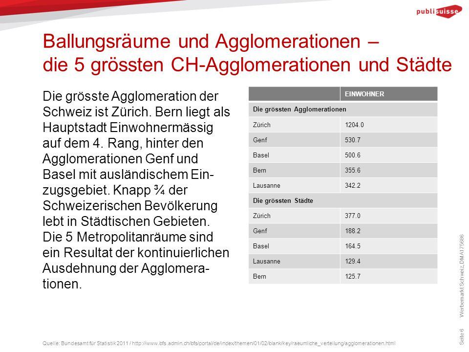 Ballungsräume und Agglomerationen – die 5 grössten CH-Agglomerationen und Städte Seite 6 Die grösste Agglomeration der Schweiz ist Zürich. Bern liegt
